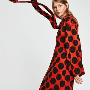 Zara Orange Polka Dot Asymmetric Bow Cocktail  Dr